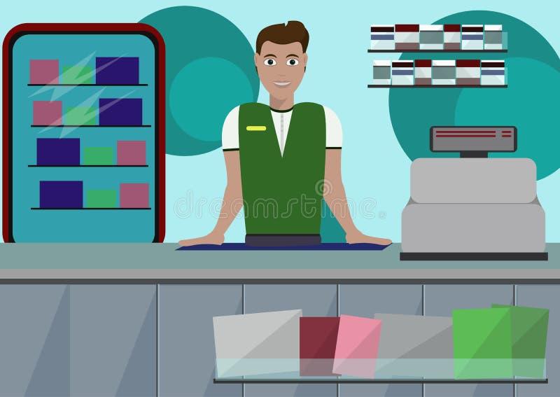 Equipo y vendedor del escritorio del contador de la tienda del supermercado en uniforme ilustración del vector
