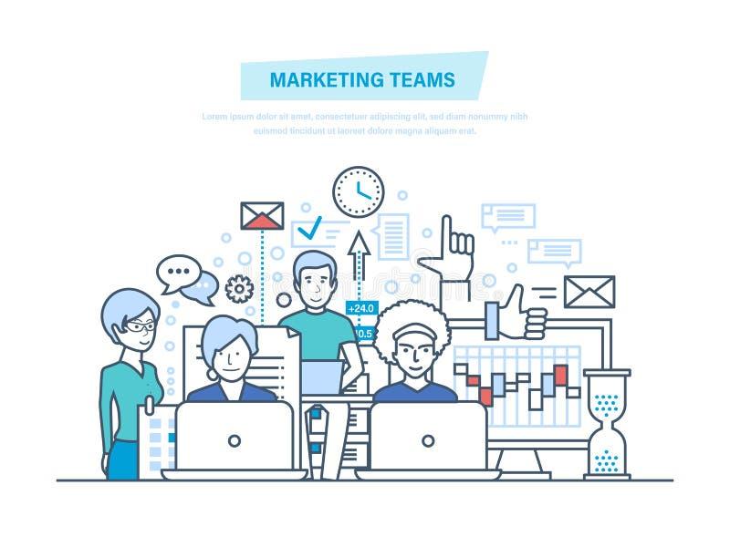Equipos de comercialización Gente corporativa de la unidad de negocio, equipo creativo, sociedades, trabajo en equipo ilustración del vector