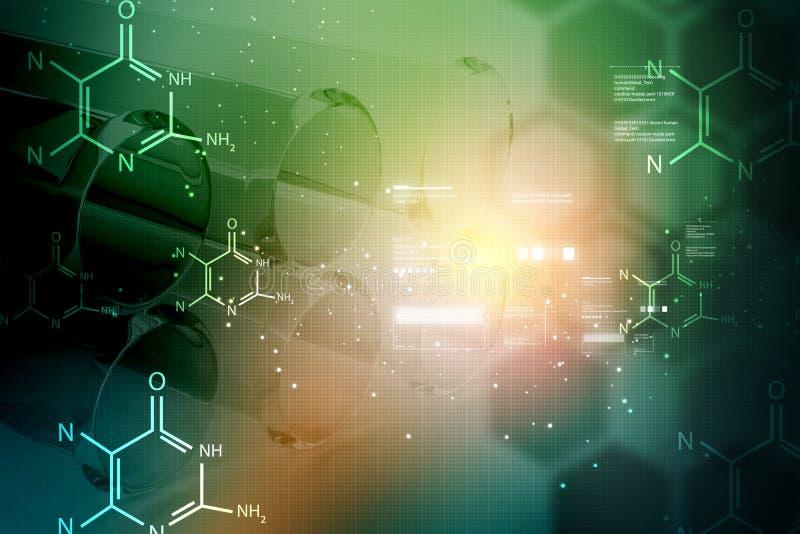 Equipos de laboratorio con las moléculas en fondo del color ilustración del vector