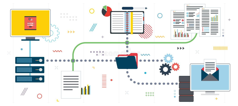Equipos de red, computación de la nube y servidor de datos ilustración del vector