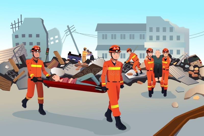 Equipos de rescate que buscan a través de los edificios destruidos ilustración del vector