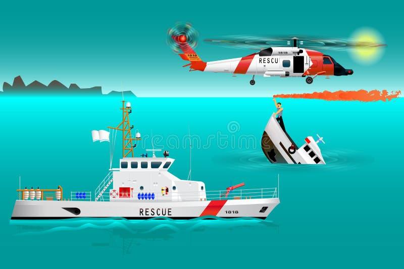 Equipos de rescate y nave del helicóptero en el mar Seguridad de la costa Barco de hundimiento El marinero toma una señal de deso ilustración del vector