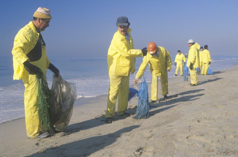 Equipos de trabajadores ambientales que organizan esfuerzos de la limpieza del derramamiento de aceites en Huntington Beach, Cali imágenes de archivo libres de regalías