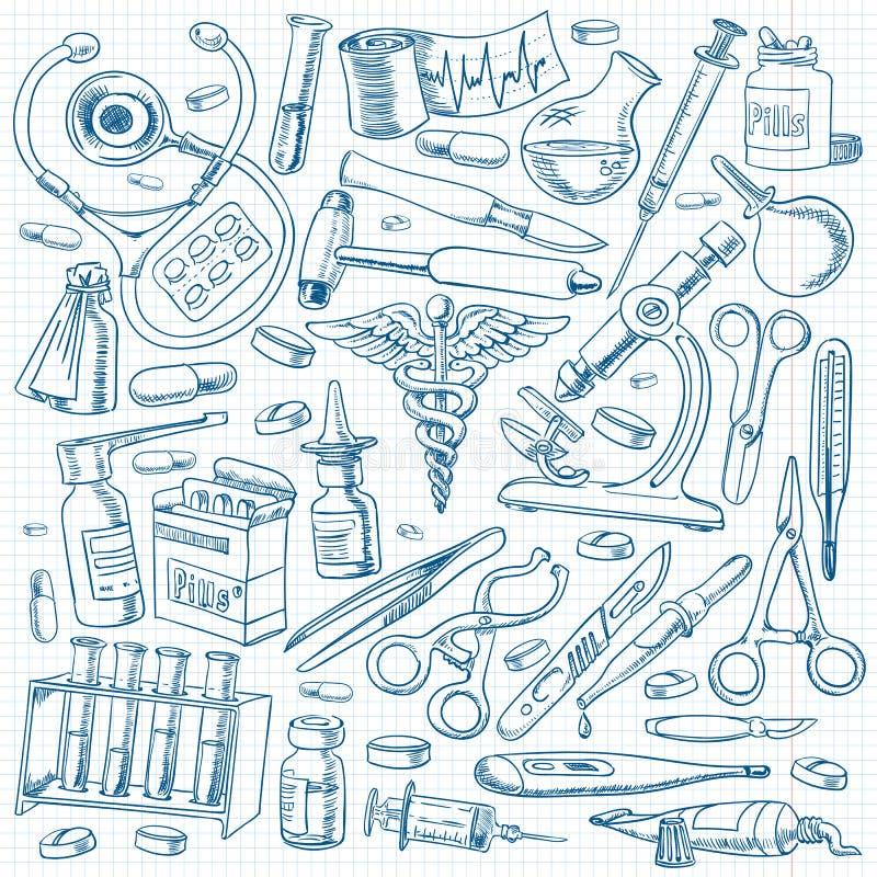 Equipos médicos y herramientas en el estilo del dibujo a pulso stock de ilustración