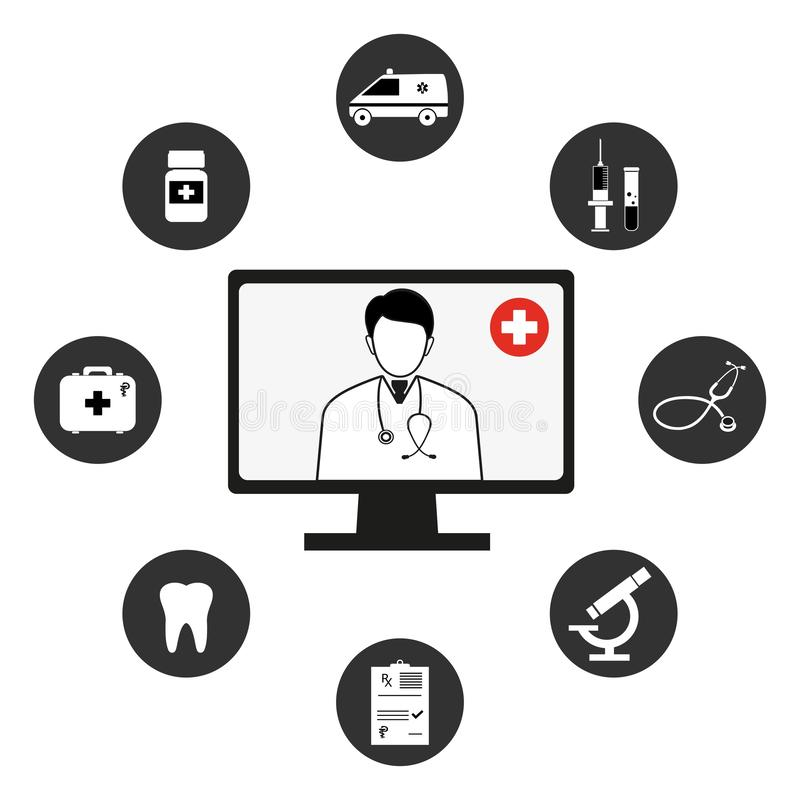 equipos m?dicos, herramientas web y aplicaciones móviles blancos y negros de la plantilla Dise?o plano salud y tratamiento Concep ilustración del vector