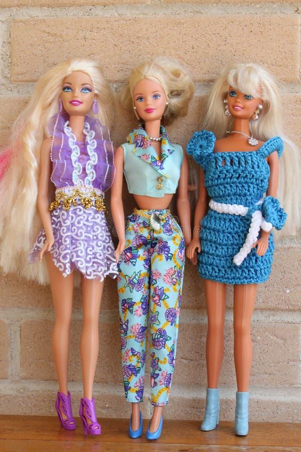 Equipos 80s y 90s de la pizca de las muñecas de Barbie imagen de archivo libre de regalías