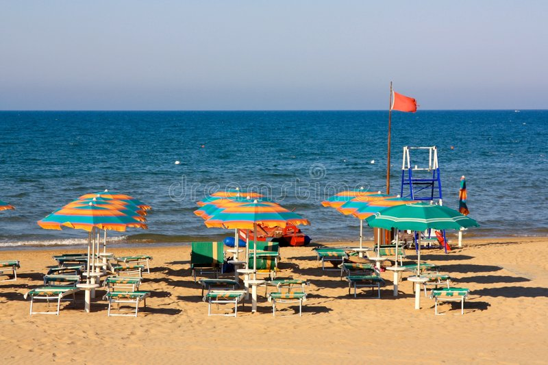Equipped beach in Italy stock images