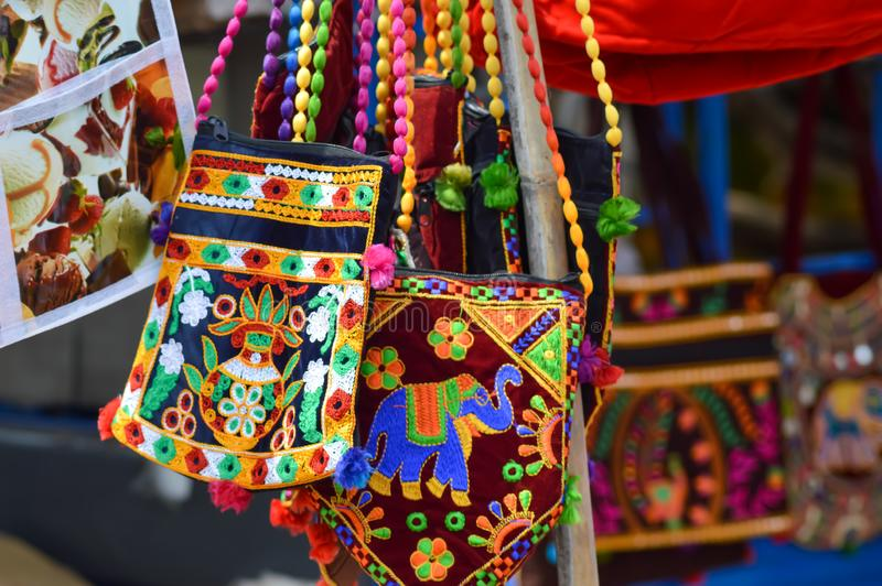 Equipped with embroidery bag,Traditional Indian Art royalty free stock photography