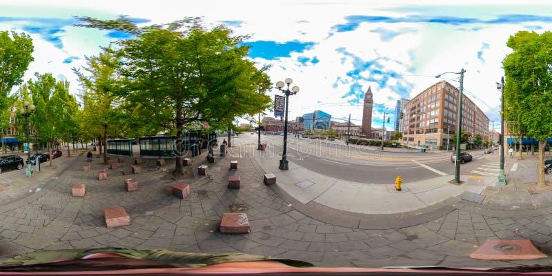 equirectangular σφαιρική φωτογραφία 360 του στο κέντρο της πόλης Σιάτλ Ουάσιγκτον στοκ φωτογραφία με δικαίωμα ελεύθερης χρήσης