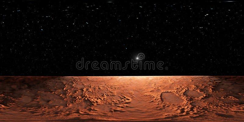 360 Equirectangular projekcja Mars, HDRI środowiska mapa panorama bańczasta royalty ilustracja