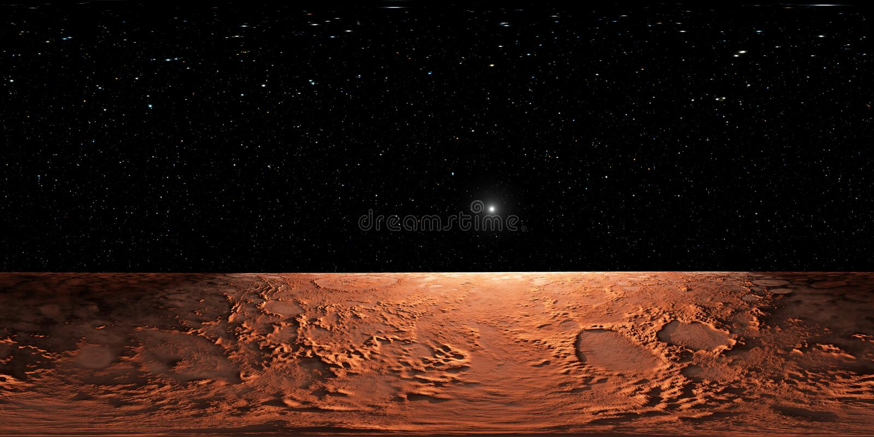 360 Equirectangular Projektion von Mars, HDRI-Umweltkarte Kugelförmiges Panorama lizenzfreie abbildung