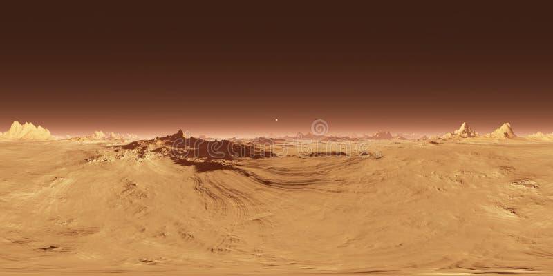 360 Equirectangular Projektion von Mars-Sonnenuntergang Marslandschaft, HDRI-Umweltkarte Kugelförmiges Panorama lizenzfreie abbildung