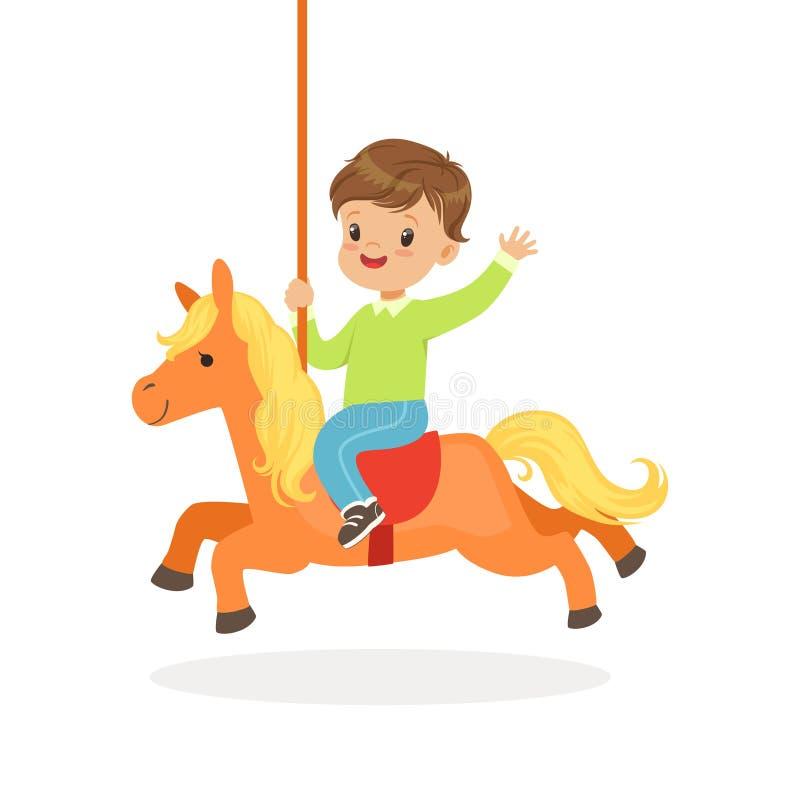 A equitação bonito no cavalo do carrossel, criança do rapaz pequeno tem um divertimento na ilustração do vetor dos desenhos anima ilustração royalty free