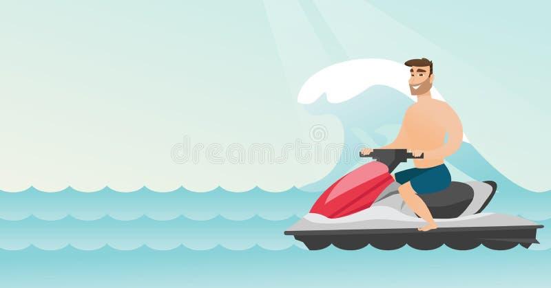 Equitação caucasiano do homem em um 'trotinette' da água no mar ilustração royalty free
