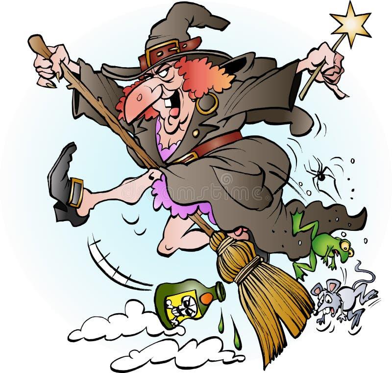 Equitação da bruxa em sua vassoura ilustração stock