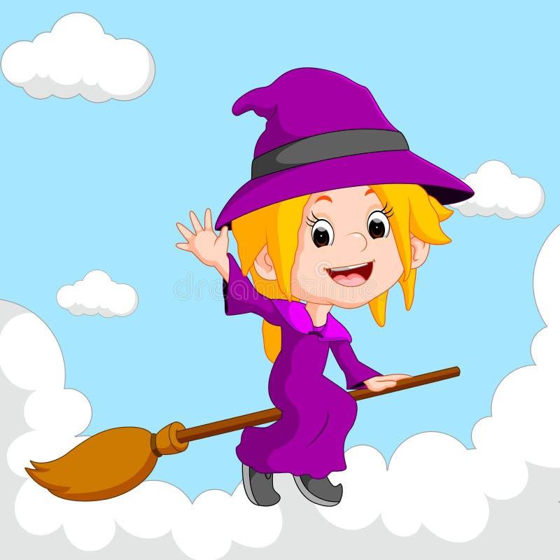 Equitação da bruxa em uma vassoura ilustração stock