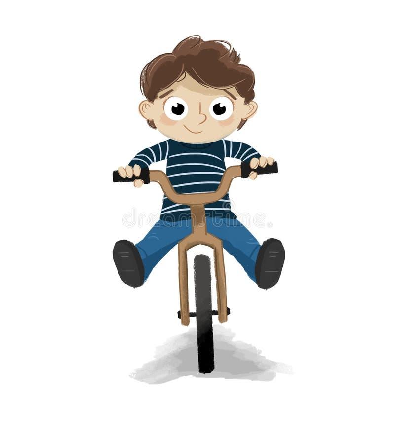 Equitação da criança em um fundo do branco da bicicleta ilustração do vetor