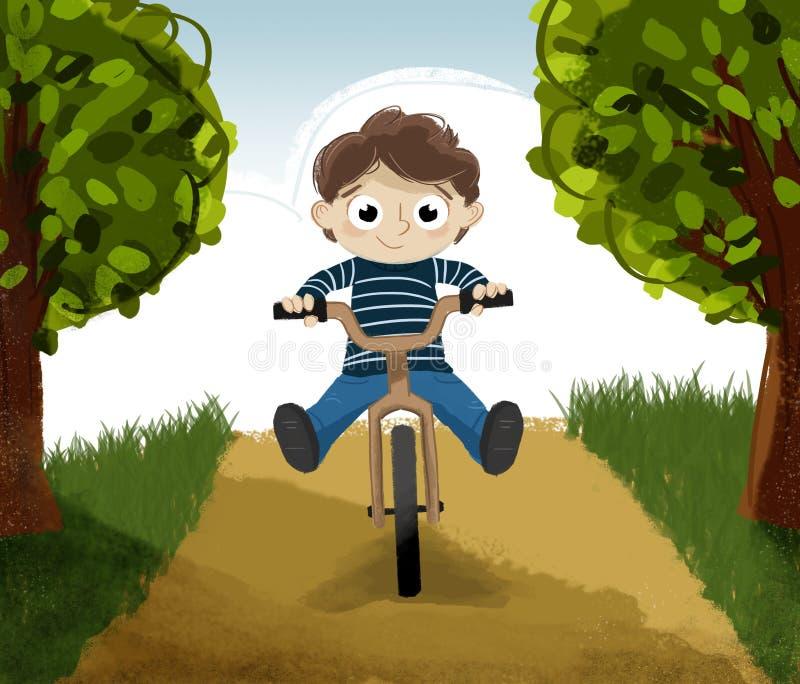 Equitação da criança em uma bicicleta ilustração stock