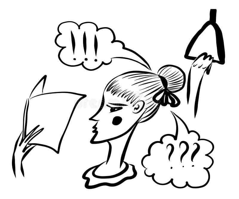 Equitação da menina da imagem do desenho no transporte e na leitura um livro, esboço, ilustração do vetor ilustração stock