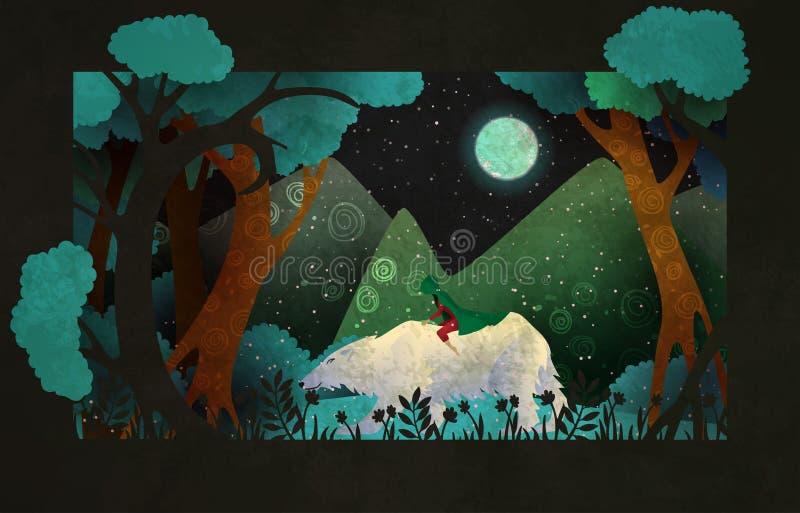 Equitação da menina no urso polar na frente da floresta, das montanhas e do céu noturno Ilustra??o do conto de fadas ilustração stock
