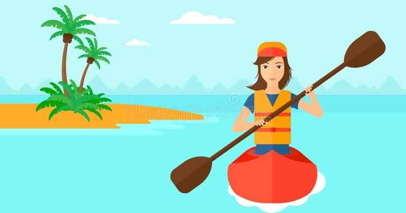 Equitação da mulher na canoa ilustração royalty free