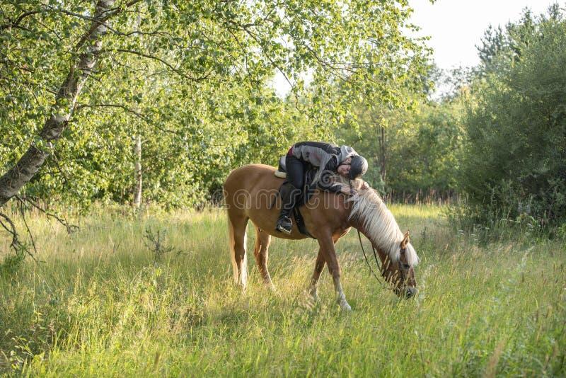 Equitação da mulher no por do sol imagens de stock royalty free