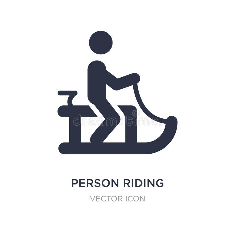 equitação da pessoa no ícone do trenó no fundo branco Ilustração simples do elemento do conceito dos esportes ilustração do vetor