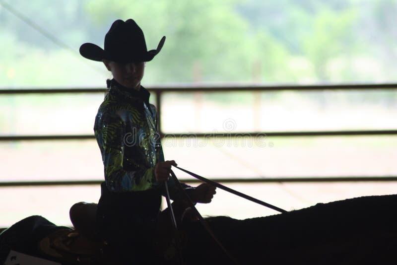 Equitação da vaqueira na mostra do cavalo imagem de stock royalty free