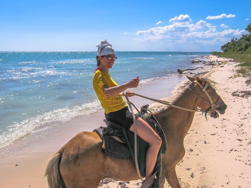 Equitação de cavalo na praia foto de stock royalty free