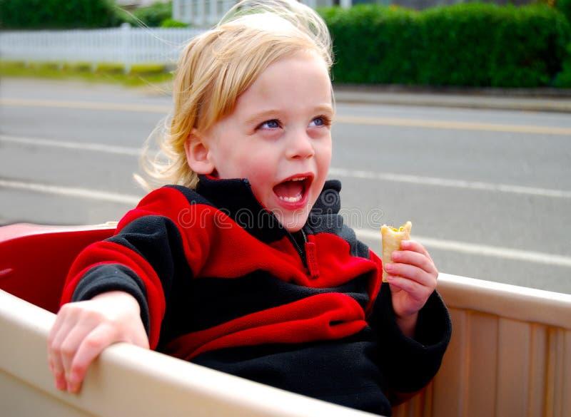 Equitação de Little Boy no vagão do jogo imagens de stock royalty free