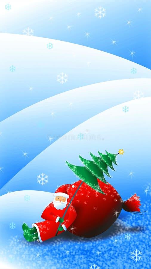 Equitação de Santa Claus do Natal na ilustração do trenó ilustração do vetor