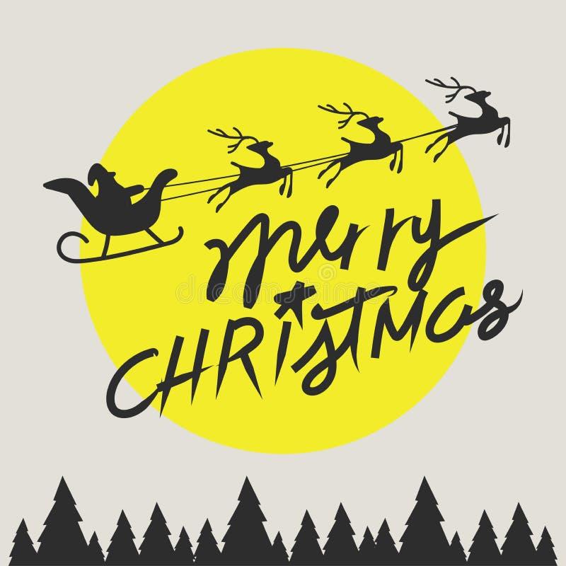 Equitação de Santa Claus dos elementos do Feliz Natal em um trenó com rena ilustração royalty free
