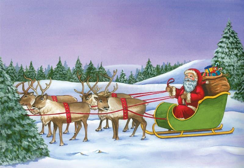 Equitação de Santa Claus no trenó com a rena no dia de Natal ilustração royalty free