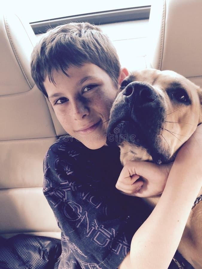 Equitação de sorriso do menino novo no carro com seu cão de cachorrinho imagens de stock