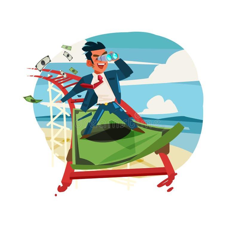 Equitação do homem de negócios na cédula como a montanha russa Negócio ou aleta ilustração stock