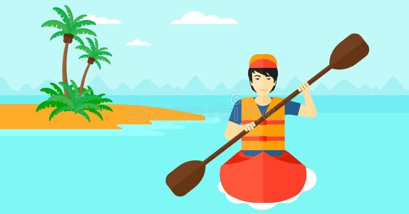 Equitação do homem na canoa ilustração royalty free