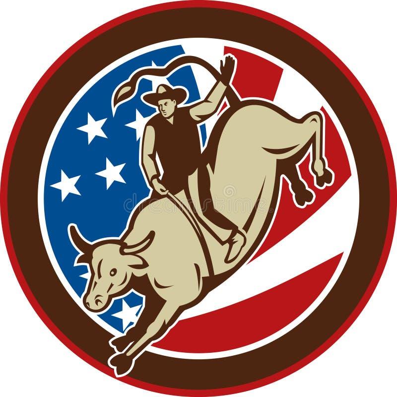 Equitação do touro do cowboy do rodeio ilustração royalty free