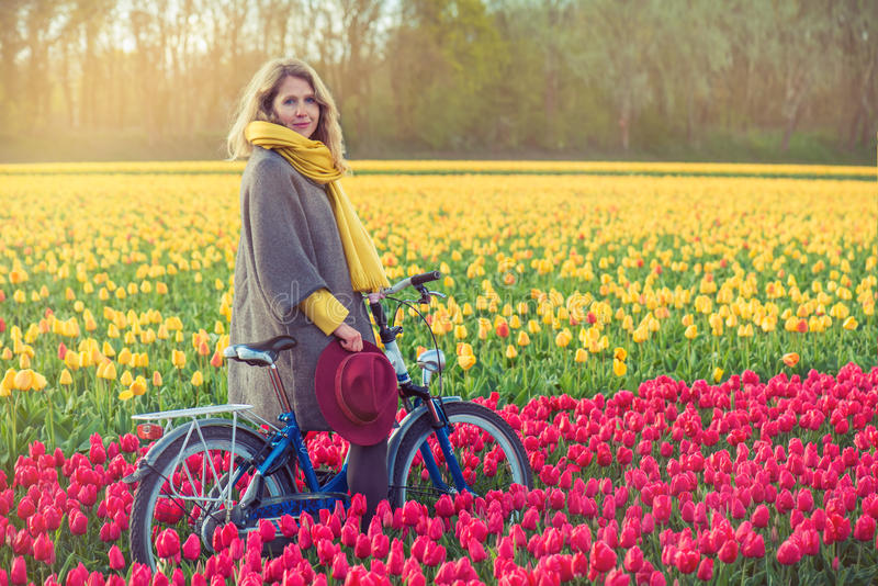 Equitação fêmea sua bicicleta através dos campos da tulipa imagens de stock royalty free