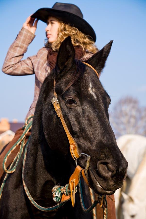 Equitação loura encantadora da mulher no campo foto de stock royalty free