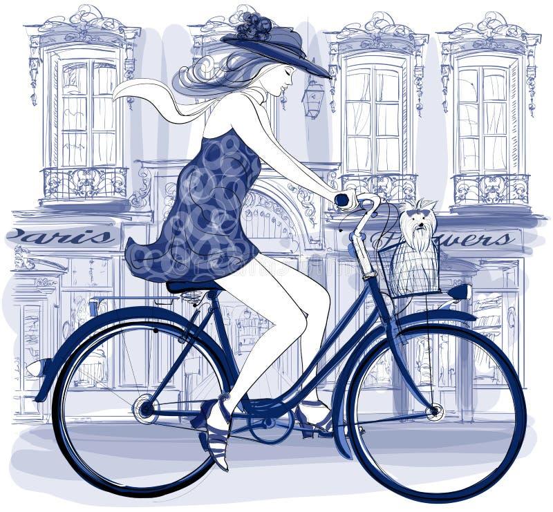 Equitação nova feliz do ciclista em uma rua ilustração royalty free