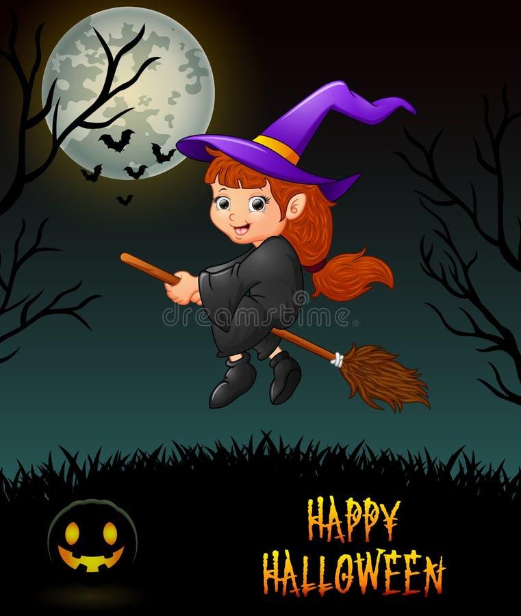 Equitação pequena bonito do voo da bruxa na vassoura no fundo da noite ilustração do vetor