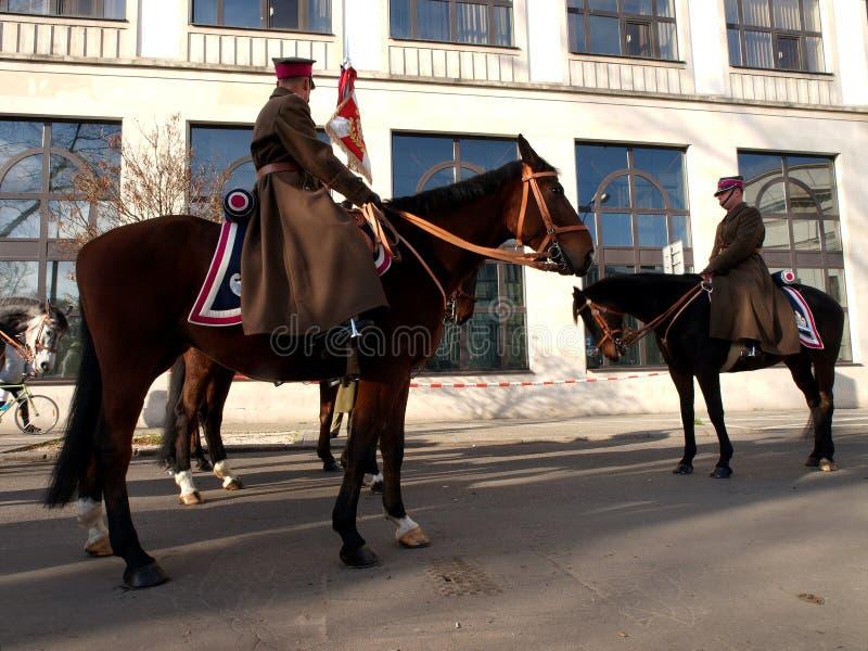 Equitação polonesa da cavalaria fotografia de stock