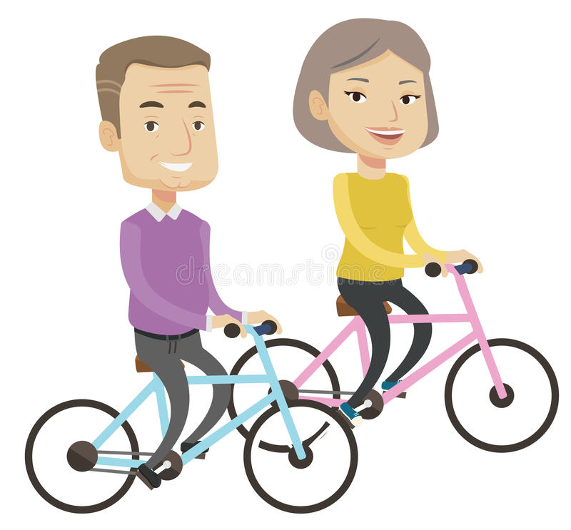 Equitação superior feliz dos pares em bicicletas ilustração do vetor