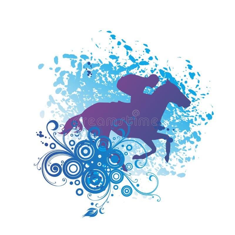 Equitação, uma equitação do homem em um cavalo ilustração do vetor