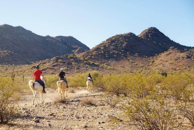Equitación a través del desierto de Arizona imagenes de archivo