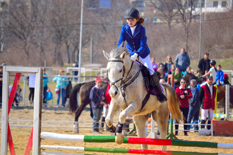 Equitation little girl horseback rider royalty free stock photography