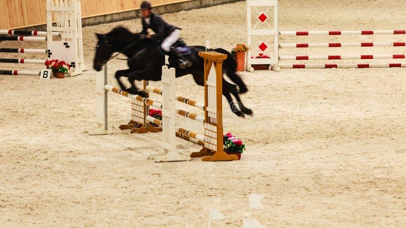 equitation mostre o salto, o cavalo e o cavaleiro sobre o salto fotografia de stock