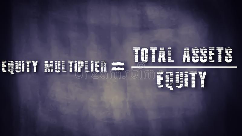 equity multiplier equal to total assets upon equity financial equation displayed on chalkboard concept royalty free stock photo