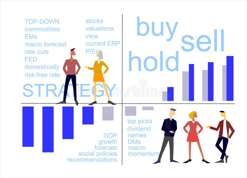 Equity strategy concept. Teamwork on stock market stock illustration