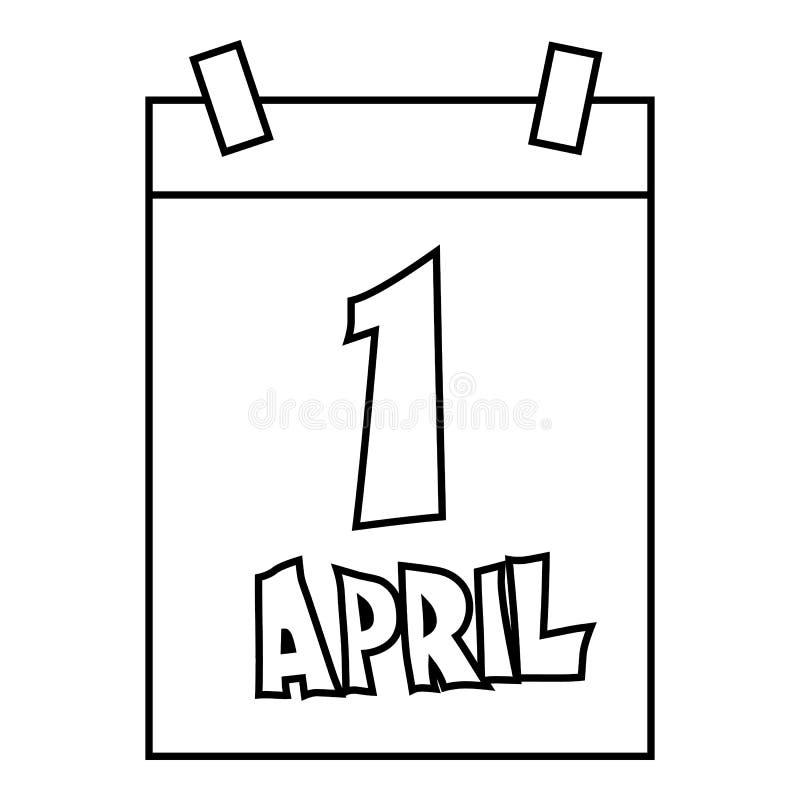 1er avril, icône de calendrier d'April Fools Day illustration stock